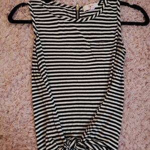 Black and White striped tie top with a zipper